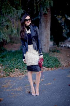 black leather jacket and sequin skirt