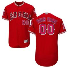 6d9ed8c2290 Los Angeles Angels of Anaheim Majestic Alternate Flex Base Authentic  Collection Custom Jersey - Scarlet -