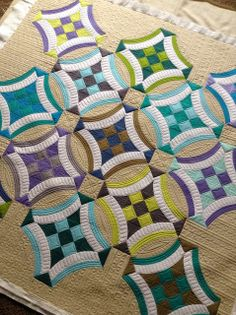 Urban Nine Patch Quilt, Love the quilting on the checkerboard.