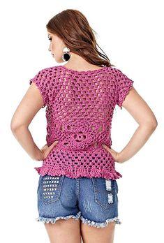 Blusa de Crochê Violeta - Barroco Maxcolor - Blog do Bazar Horizonte - Maior Armarinho Virtual do Brasil