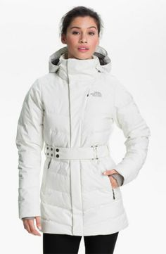 NEW THE NORTH FACE Greta Belted Down Hooded Jacket TNF White Size M $330 A88E
