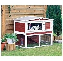 This small animal hutch with enclosure protects against humidity and cold floors and ensures good air circulation. It is winter and weatherproof and easy to clean.