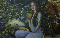 Pomona by elisabetta trevisan    tempera and watercolorpencils on mdf  cm 140×90    Ancient Roman goddess of fruit