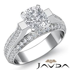 Gleaming Cushion Diamond Pre-Set Engagement Ring GIA H SI1 14k White Gold 2.4 ct #Javda #SolitairewithAccents