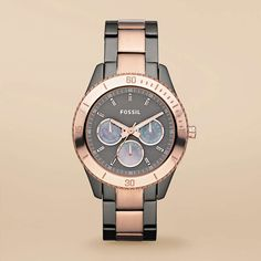 Stella Stainless Steel Watch - Smoke and Rose