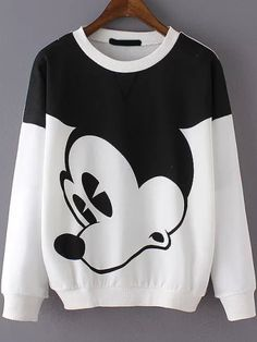 #MickeyMouse #Classic Cartoon Print Loose Sweatshirt so affordable!!!
