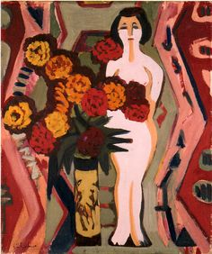 Ernst Ludwig Kirchner - Still Life with Sculpture.