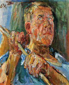 "kundst: "" Oskar Kokoschka (Ger. 1886-1980) Self-portrait, Fiesole (1948) Oil on canvas (65x55 cm) Via igormaglica """