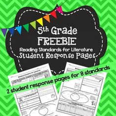 FREEBIE: 5th Grade Student Response Pages. Great for no prep sub plans.