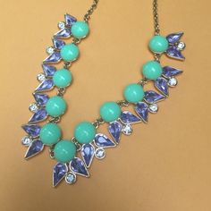 J.Crew Necklace Authentic Jewelry Mint Blue White Good condition with no missing stones.   Authentic J.Crew!   • Short chain with round clasp closure • Mint green smooth stones with light blue and clear rhinestone accents • Goldtone metal  • Hits at collarbone J. Crew Jewelry Necklaces