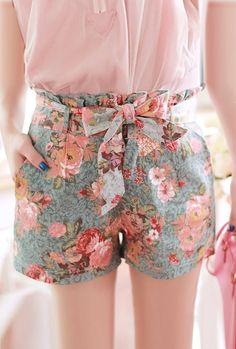 Utopian Garden Paperbag Waist Floral Print Shorts   Sincerely Sweet Boutique
