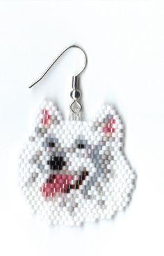 Hand beaded ~ Samoyed dog head angle earrings, for my gf, Cathy