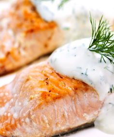 Pan seared #salmon fillet with creamy dill sauce #recipe