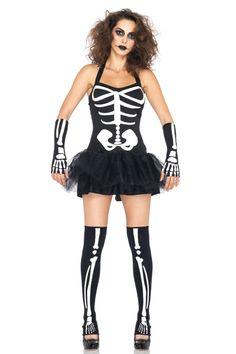 3 PC. Sexy Skeleton, includes halter tutu dress with glow in the dark bone detail, fingerless gloves, and stirrup thigh highs.