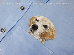 hand embroidered dog in the pocket on the blue oxford от ShopGoGo5