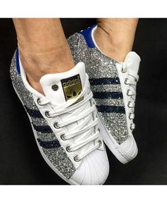online store f3834 a0a54 Adidas Superstar Silver Glitter Blue White Trainers Rose Gold Adidas, Adidas  Superstar, Cheap Shoes
