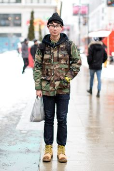 Love this guy's style - especially the camo with the duo-tone glasses!