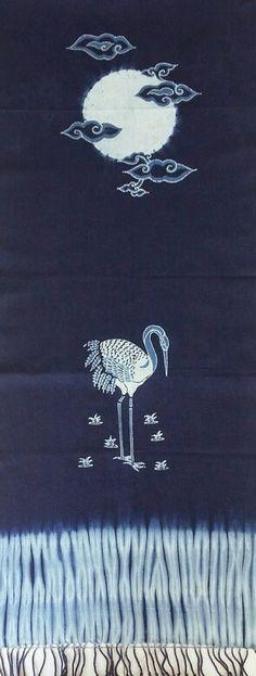 INDIGO SHIBORI BATIK TULIS CRANE BIRD..MOON AND CLOUDS HANDMADE BY.IMMANUELA FARISA
