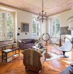 Grasse 1850's villa, juxtaposing contemporary and historical decor in this light and breezy interior.