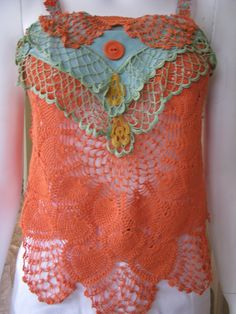 Burnt Orange Lace Top,Crochet Boho Top,Vintage Doilies,Upcycled Clothing,   size S - M by vintacci on Etsy https://www.etsy.com/listing/165108247/burnt-orange-lace-topcrochet-boho