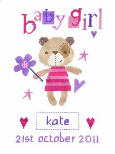 Madison Bear Girl Birth Sampler Cross Stitch Kit £17.25 | Past Impressions | The Stitching Shed