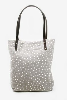 LOVE the abstract polka dot print on this adorable tote.