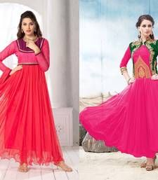 Buy Red  and  Pink Embroderied Soft Net semi_stitched salwar salwar-combo online