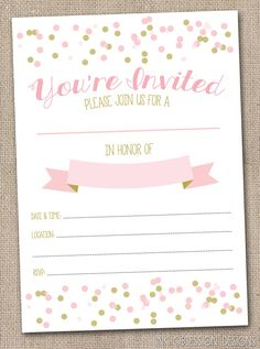 instant download girls invitation pink gold printable party invitation with polka dot confetti fill in - Blank Party Invitations