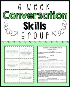 6 session conversation skills small group no prep! Communication Activities, Social Skills Activities, Teaching Social Skills, Counseling Activities, Social Emotional Learning, School Counseling, Therapy Activities, Student Learning, Group Counseling