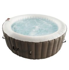 Round Inflatable Hot Tub Spa With Cover - 6 Person - 265 Gallon - Brown and White Traditional Hot Tubs, Round Hot Tub, Hot Tub Backyard, Backyard Furniture, Deep Relaxation, Jetted Tub, Sit Back And Relax, Spa, Brown