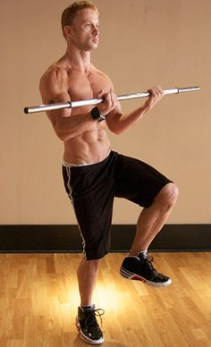 Workout for Six Pack Abs and a Strong Core: Standing work with bar - Move 2. [see more www.pinterest.com/amorefitness]