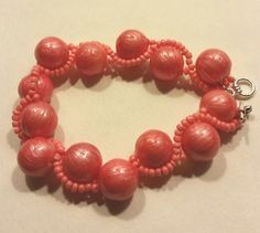 Coral beaded bracelet by SnoBirdBeads on Etsy
