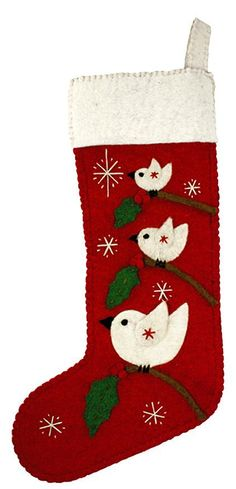 Fair Trade Holiday Tree Top Birds Stocking - Red. Fair Trade Holiday Tree Top Birds Stocking - Red Jump one, jump two, jump three little birds! Hand felted details tell the story of what's happening in the woodland tree tops. Plain at the back. Handmade felt components are created and assembled by skilled artisans working in a fair trade production center in Kathmandu, Nepal. Artisans use 100% natural wool and non-toxic, azo-free dyes. Wool scraps are recycled into new products. Price…