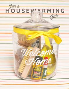 Housewarming Jar DIY. What a great idea. You could include things like picture hanging hooks, scotch/masking/duct tape, goo gone, note pad and pen, mini dish soap and scrubber, key chain, flash light... endless possibilities (and you could find most at the dollar store)!