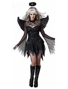dark angel svart klänning med vingar vuxen kvinna halloween dräkt Halloween  2018 fdf22ccdf74a2