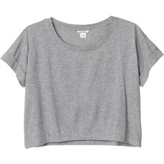 Monki Pim tee (110 MAD) ❤ liked on Polyvore featuring tops, t-shirts, shirts, crop tops, grey parrot, roll top, crop shirts, crop top, gray top and crop t shirt