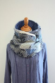 Wool Scarf Boro Men s Neck warmer Dark blue and gray warm winter neck wrap  cowl Kantha Upcycled Sashiko 100% felted wool scarf SaidoniaEco. Sciarpa ... 08ea2a549b6a