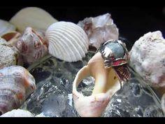 Seagulls Aquamarine Silver Sterling Ring Handmade Heartmade