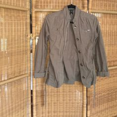 Light & comfy olive green jacket Gold buttons & tie for cinched waist Jackets & Coats