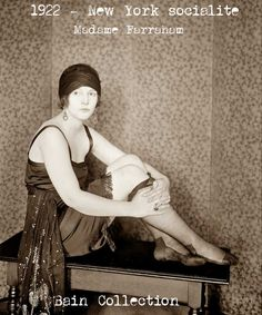 Downton Abbey Fashion Era -  Madame-Farraham-New-York-Socialite-1922. The Bright Young People, was a nickname conjured up by the tabloid press, to describe these partying aristocrats and wealthy socialites. Several notable artists and writers, were included in this group such as Evelyn Waugh, author of Vile Bodies [ the inspiration for Cabaret ] and Brideshead Revisited, and John Betjeman and Cecil Beaton