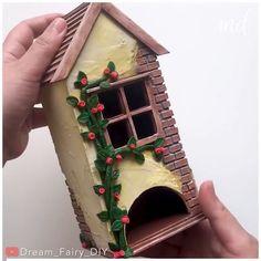 Cardboard Crafts, Yarn Crafts, Floating Paper Lanterns, Fairytale House, Cardboard Sculpture, Bird Houses Diy, Diy Crafts For Gifts, Miniature Houses, Diy Dollhouse