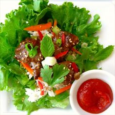 asian style lettuce wraps. We use sriracha mixed with honey and crushed garlic and ginger as the sauce.