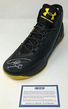 54fc409d3be3a STEPHEN CURRY Autographed Warriors Curry 3 Under Armor Black Camo Shoe  STEINER