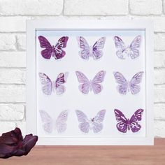 Framed Butterfly Paper Art Home Decor in your by DorisDearest, 3d Paper Art, Butterfly Frame, Purple, Manchester, Handmade Gifts, Artworks, Cards, Easter, Colour