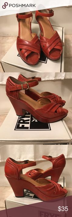 Frye Iris heeled sandal Vintage style Frye heeled sandal.   Gorgeous tomato red color.  All leather including soles.  Only worn twice (leather soles shoe marks easily).  Very good condition.  Size 7.  In my opinion, these were made when Frye made their shoes with a little more quality- these were made in Brazil (not China). Frye Shoes Heels