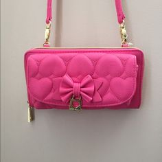 Betsey Johnson  pink leather cross body bag Betsey Johnson brand new unique pink compact purse with adjustable and removable straps. Can become a clutch purse/wallet with sunglasses pouch on the outside! Betsey Johnson Bags Crossbody Bags