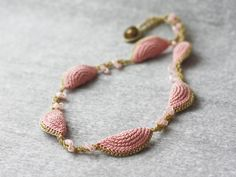 Pink rose quartz and gold necklace Fiber and beads jewelry Crochet necklace Handcrafted artisan jewelry Half circles necklace
