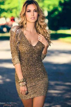 Gorgeous gold dress for a night out