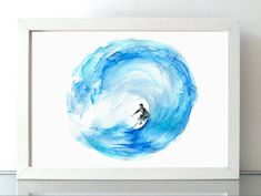 Surf Art - watercolor painting - Giclee print Surf painting  - Wave  Sea aRT…