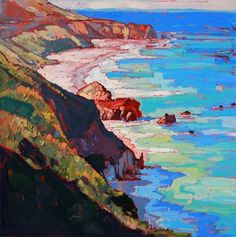 Original oil painting of the California coastline north of Big Sur. This painting was done by Los Angeles artist Erin Hanson. #OilPaintingInspiration